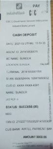 CSC Digipay Cash Deposit Slip Print Using Thermal Printer