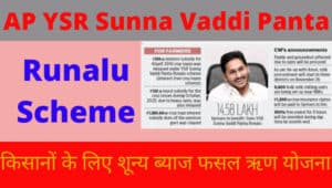 AP YSR Sunna Vaddi Panta Runalu Scheme 2020, किसानों के लिए शून्य ब्याज फसल ऋण योजना