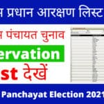 यूपी ग्राम प्रधान आरक्षण लिस्ट 2021 pdf, Up Gram Panchayat Election 2021 seat list