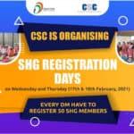 SHG Registration Days Through CSCs