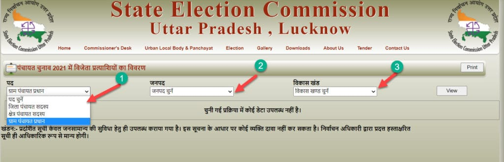 Now select panchayat pradhan or BDC and District Name for result