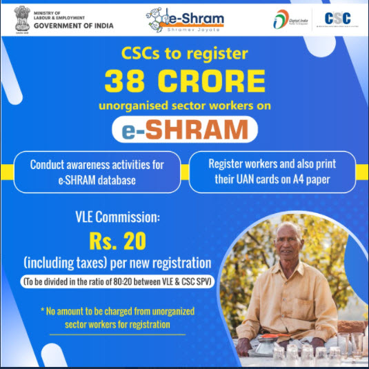 CSC to register 38 crores, unorganized sector workers, on e-SHRAM.
