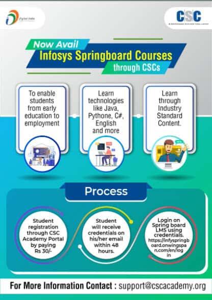 Infosys Springboard Courses Through CSCs